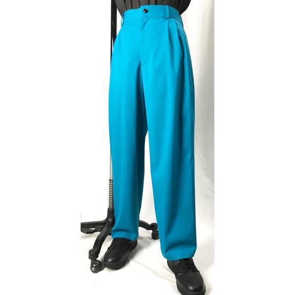 EZ-PANTS/型番EZ001-P0009 ターコイズ XS/S/M/L ダンス衣装 男女兼用 日本製 イージーパンツ スラックス カラーパンツ