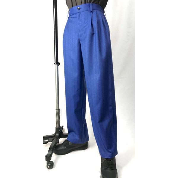 EZ-PANTS/型番EZ001-P0012 デニム調ジャガードストライプ サイズ注文可能 イージーパンツ スラックス ダンス衣装 男女兼用 日本製 青 ブルー