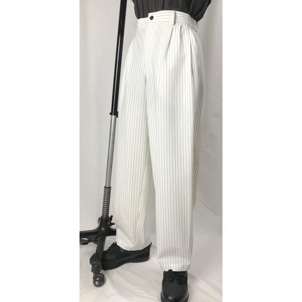 EZ-PANTS/型番EZ001-P0014 オフホワイトストライプ サイズ注文可能 イージーパンツ スラックス ダンス衣装 男女兼用 日本製 白