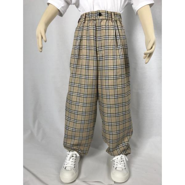 EZ-PANTS/型番EZ000-SP0110s  タータンチェック ベージュ ダンス衣装 日本製 男女兼用 120cm 130cm  イージーパンツ スラックス