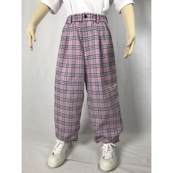 EZ-PANTS/型番EZ000-SP0111s  タータンチェック ピンク ダンス衣装 日本製 男女兼用 120cm 130cm  イージーパンツ スラックス