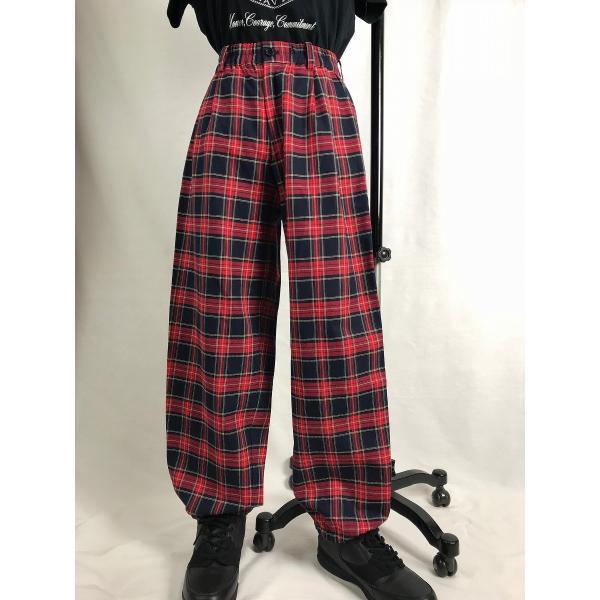 EZ-PANTS/型番EZ000-SP0112 紺 タータンチェック ダンス衣装 日本製 男女兼用 120/130/140/150  イージーパンツ スラックス