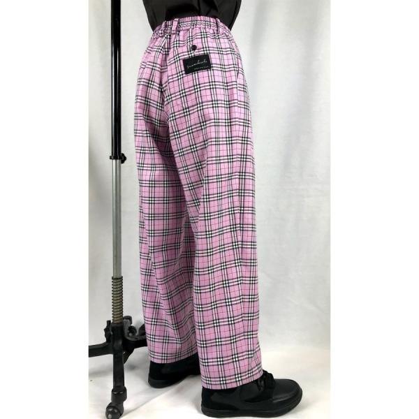 EZ-PANTS/型番EZ000-TP0107 ピンクチェック ダンス衣装 日本製 男女兼用 S M  イージーパンツ スラックス ピンク