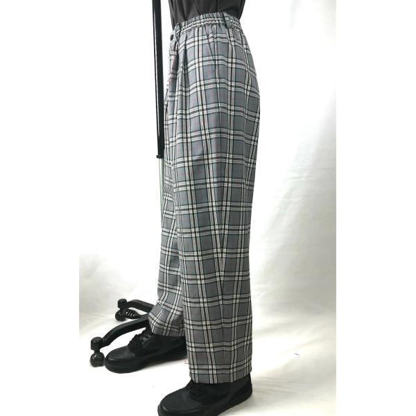EZ-PANTS/型番EZ000-TP0108 タータンチェックグレー ダンス衣装 日本製 男女兼用 S M イージーパンツ スラックス