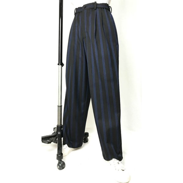 EZ-PANTS/型番EZ000-TP0111 ストレッチツイル 黒xブルーストライプ ダンス衣装 日本製 男女兼用 S  イージーパンツ スラックス
