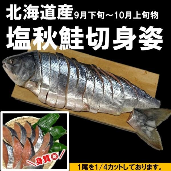 北海道産 新巻鮭 塩秋鮭 切身姿 (1尾分丸ごと) 4分割 大サイズ 北海道の秋の味覚をご自宅で 条件付き送料無料