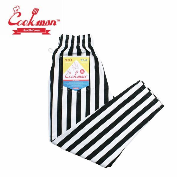 クックマン シェフパンツ ストライプ Cookman Chef Pants 「Wide stripe」 Black|mash-webshop