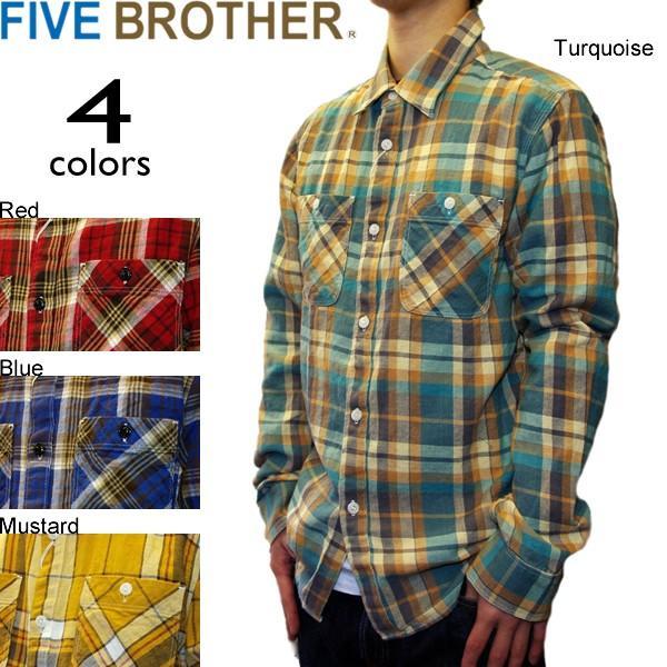 FIVE BROTHER ファイブブラザー CHECK WORK SHIRTS チェックワークシャツ ライトネル|mash-webshop