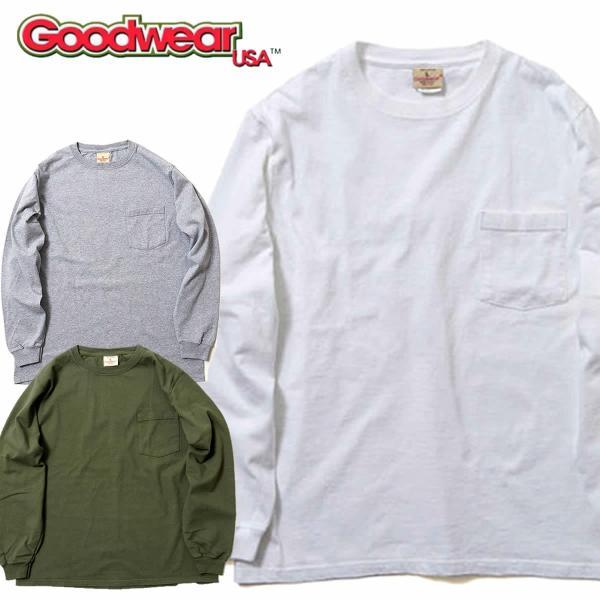 グッドウェア ポケット Tシャツ Goodwear L/S CREW NECK POCKET TEE|mash-webshop