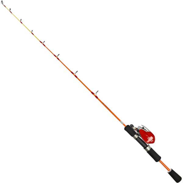 スマイルシップ 穴釣り セット 90cm レッド テトラ竿 ベイトリール付 釣り竿【同梱不可】
