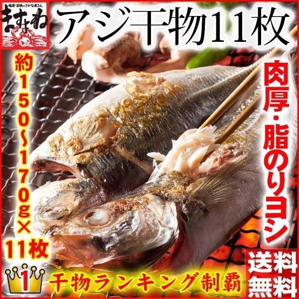 アジ あじ 鯵 干物 一夜干し 脂のり良し&肉厚 アジ開き干し(約150-170g前後×11枚) 冷凍便 送料無料|masuyone