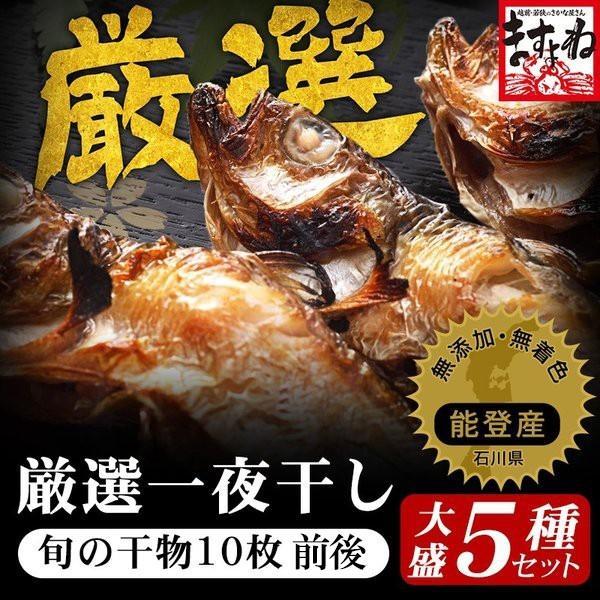 干物 北陸 石川県 能登の旬魚5種、無添加熟成一夜干し干物セット(10枚以上) 同梱不可 冷凍便 送料無料|masuyone