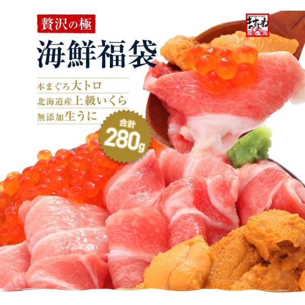 残300個限定 鮪 本マグロ大トロ 北海道産いくら醤油漬け 無添加生うに 海鮮丼セット3人前(計280g 本まぐろ大とろ100g イクラ80g ウニ100g) 冷凍便|masuyone|03