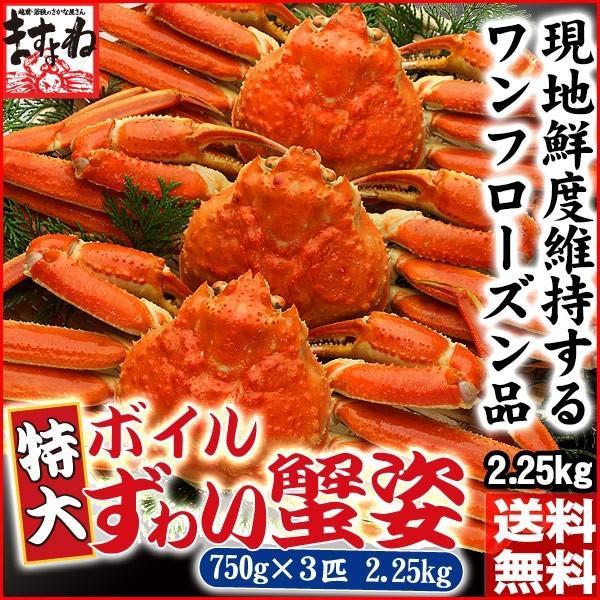 カニ かに ズワイガニ 非再凍結ワンフロ ーズン鮮度 特大 本ずわい蟹 姿 約750gx3匹 2.25kg前後 味噌みそミソ 冷凍便 送料無料|masuyone