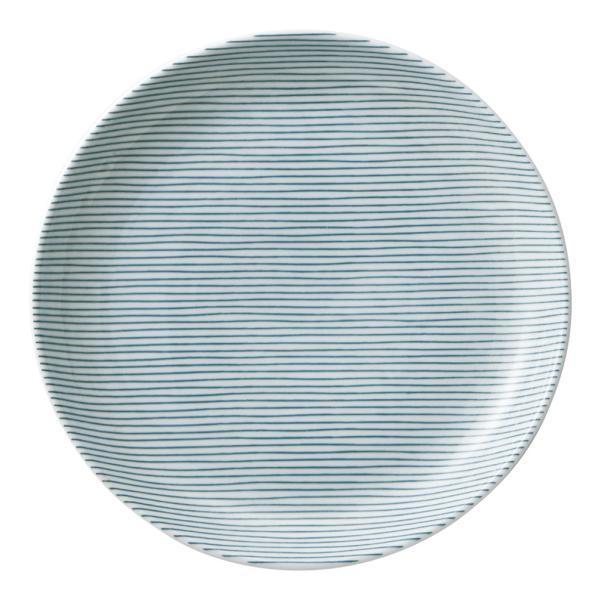 美濃の和食器 花伝細縞 緑 13cm丸皿 matakatsu