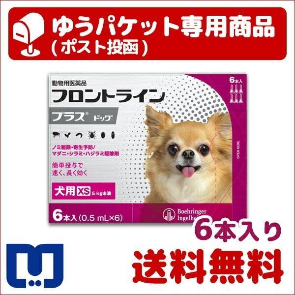 |A:【BとC同梱不可】フロントラインプラス 犬用 XS (5kg未満) 6本入 動物用医薬品