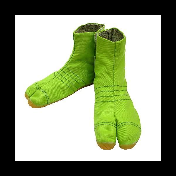 柄の裏地がお洒落なカラー足袋 ショート(グリーン)マジックテープ式 子供祭り足袋|matsuriya-sonami|02