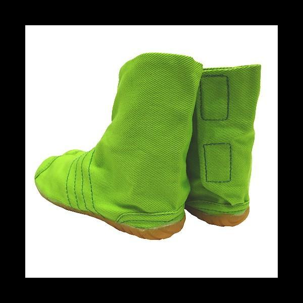 柄の裏地がお洒落なカラー足袋 ショート(グリーン)マジックテープ式 子供祭り足袋|matsuriya-sonami|04