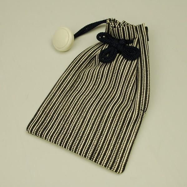 お祭り用品 革製 腰下げ巾着袋 鹿革 薩摩縞