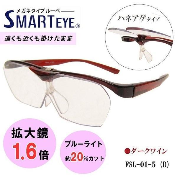 SMART EYE 拡大鏡 1.6倍 跳ね上げ メガネタイプ ルーペ スマートアイ 紫外線 ブルーライトカット FSL-01-5 (4) あすつく