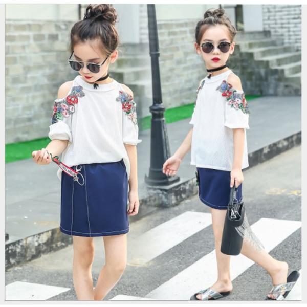 116d2c91c7b0b キッズ 子供服 女の子 セットアップ スカート 韓国子供服 海外ブランド フラワー刺繍セットアップ ...