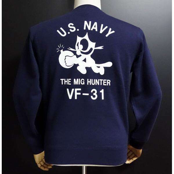 トレーナー ミリタリー メンズ 長袖 10oz 厚手 裏起毛 ロング ビンテージ スウェット MAVEVICKS ブランド 米海軍 NAVY 黒猫 CAT ネイビー|mavericks|03