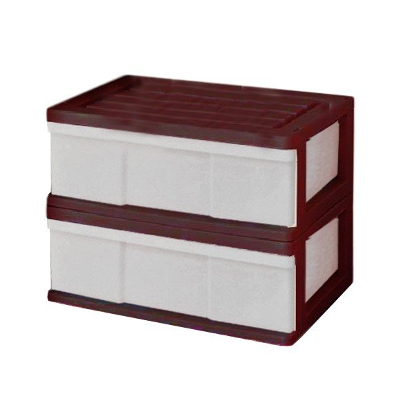 収納ケース 引き出し ワイド カラフルチェスト プラスチック 完成品 1段 2個組 幅60cm おしゃれ ブラウン 日本製|maxjapan-store|03