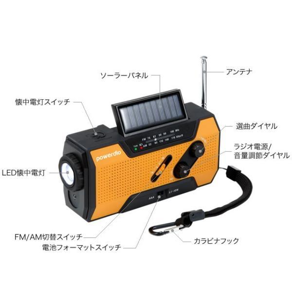 防災ラジオ スマホ充電可能 LEDライト付き 手回し充電ラジオ ソーラー充電 ワイドFM AMラジオ 防災多機能ラジオ 防水仕様 送料無料 代金引換不可|maxlex|14