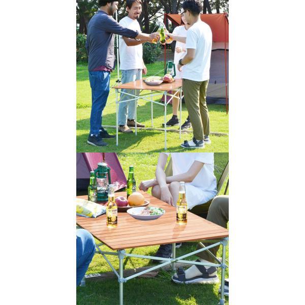 レジャーテーブル ロールテーブル 折りたたみ アルミ 120cm ピクニックテーブル テーブル ローテーブル アウトドアテーブル FIELDOOR 送料無料|maxshare|07