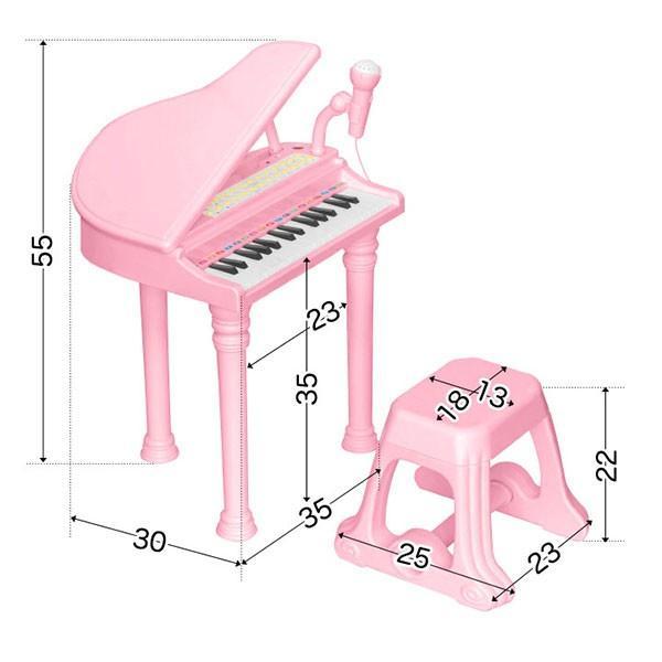 ピアノ おもちゃ グランドピアノ キッズ 椅子 チェア いす 付き マイク 録音 再生 機能付き 楽器 鍵盤 音楽 楽器玩具 知育玩具 子供 RiZKiZ 送料無料 maxshare 03