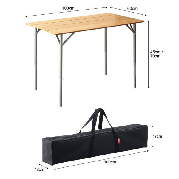 テーブル 高さ調節 可能 幅100cm 折りたたみ 在宅勤務 テレワーク アウトドア レジャー ピクニック ローテーブル キャンプ デスク バンブー FIELDOOR 送料無料|maxshare|21