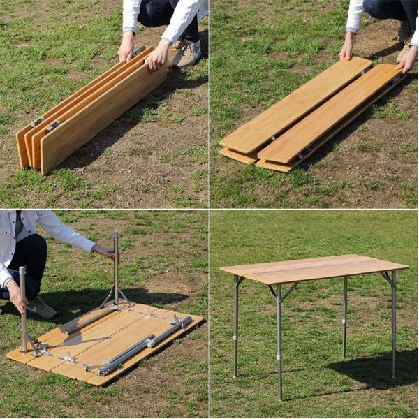 テーブル 高さ調節 可能 幅100cm 折りたたみ 在宅勤務 テレワーク アウトドア レジャー ピクニック ローテーブル キャンプ デスク バンブー FIELDOOR 送料無料|maxshare|06