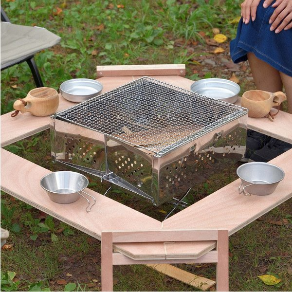 アウトドアテーブル レジャーテーブル 囲炉裏 テーブル 木製 組み立て アウトドア キャンプ 折りたたみ 焚き火 お花見 囲む FIELDOOR フィールドア 送料無料 maxshare 13