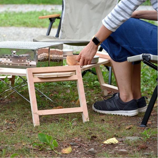 アウトドアテーブル レジャーテーブル 囲炉裏 テーブル 木製 組み立て アウトドア キャンプ 折りたたみ 焚き火 お花見 囲む FIELDOOR フィールドア 送料無料 maxshare 05