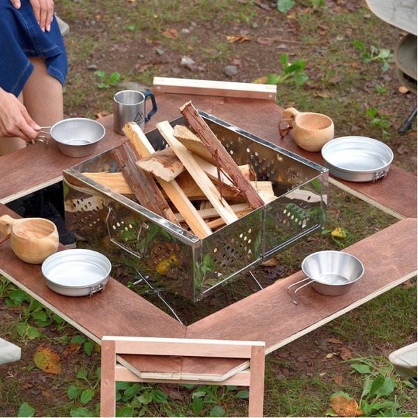 アウトドアテーブル レジャーテーブル 囲炉裏 テーブル 木製 組み立て アウトドア キャンプ 折りたたみ 焚き火 お花見 囲む FIELDOOR フィールドア 送料無料 maxshare 09