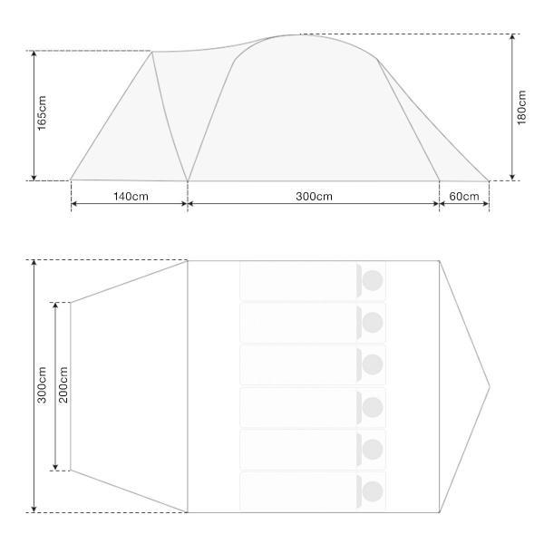 テント ドーム型テント ワンタッチ 大型 4人用 5人用 6人用 ファミリー おしゃれ 300cm キャンプ アウトドア キャノピー ポール フルクローズ FIELDOOR 送料無料|maxshare|07