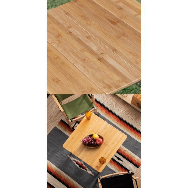 レジャーテーブル 折りたたみ 幅 60x60cm アウトドア ピクニック テーブル ローテーブル バンブー 竹 アウトドアテーブル キャンプ 高さ調節 FIELDOOR 送料無料|maxshare|11