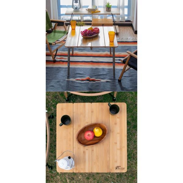 レジャーテーブル 折りたたみ 幅 60x60cm アウトドア ピクニック テーブル ローテーブル バンブー 竹 アウトドアテーブル キャンプ 高さ調節 FIELDOOR 送料無料|maxshare|12