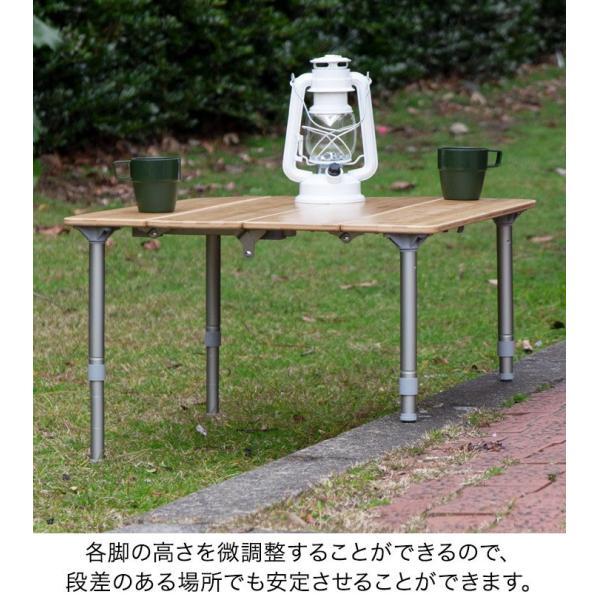 レジャーテーブル 折りたたみ 幅 60x60cm アウトドア ピクニック テーブル ローテーブル バンブー 竹 アウトドアテーブル キャンプ 高さ調節 FIELDOOR 送料無料|maxshare|08