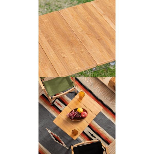 レジャーテーブル 折りたたみ 幅 60x40cm アウトドア ピクニック テーブル ローテーブル バンブー 竹 アウトドアテーブル キャンプ 高さ調節 FIELDOOR 送料無料 maxshare 11