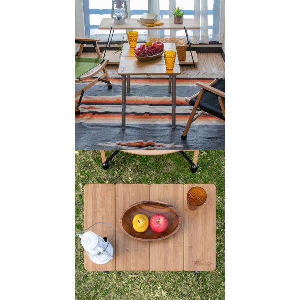レジャーテーブル 折りたたみ 幅 60x40cm アウトドア ピクニック テーブル ローテーブル バンブー 竹 アウトドアテーブル キャンプ 高さ調節 FIELDOOR 送料無料 maxshare 12