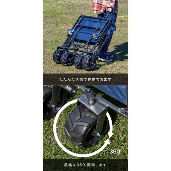 キャリーカート キャリーワゴン 折りたたみ タフエクストラ アウトドア キャリー 耐荷重150kg 大容量 折り畳み 大型タイヤ キャンプ 運搬 FIELDOOR 送料無料|maxshare|19