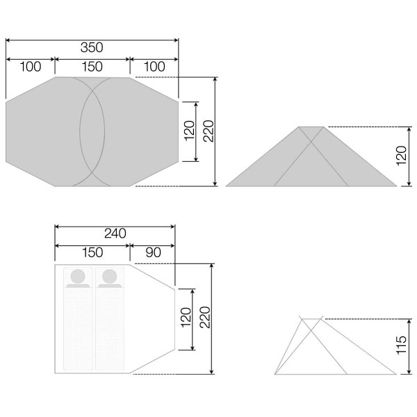 テント 2人用 ポールテント ドームテント クロスポールテント ドーム型 UVカット フルクローズテント 耐水圧 インナーテント キャノピー FIELDOOR 送料無料|maxshare|07