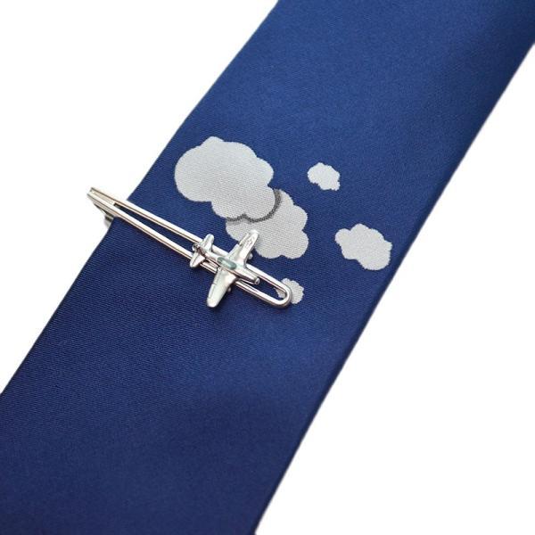 WEB会議 テレワーク クールビズ ギフト プレゼント SWANK タイピン&ネクタイセット 02(飛行機)|mays-jewelry