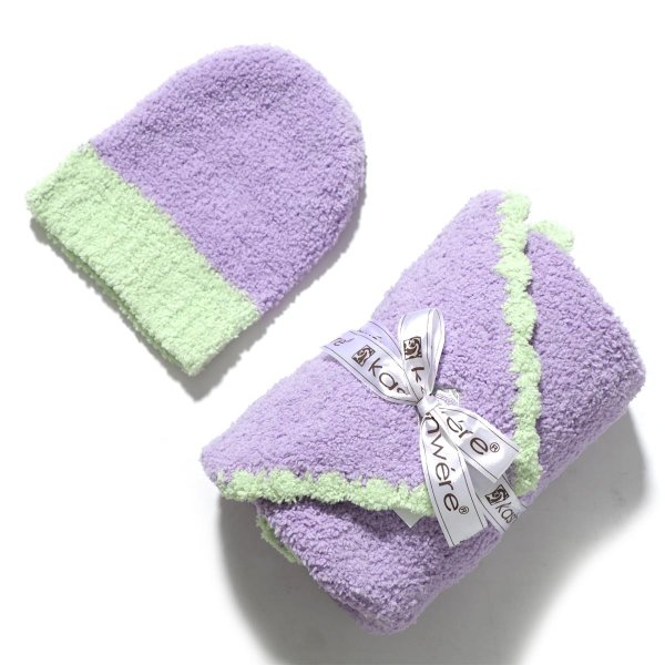 カシウエア Kashwere ベビーブランケット&キャップ パープル bb-67-30-30-lavender-green