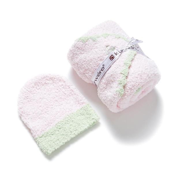 カシウエア Kashwere ベビーブランケット&キャップ ピンク bb-67-70-30-pink-green