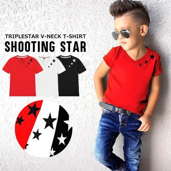 11af23eac49e7 子供服 キッズ Tシャツ シューティングスター刺繍 Vネック 半袖Tシャツ綿100%