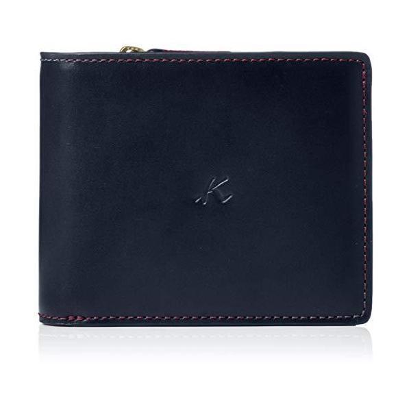 キタムラ二折財布ZH0379ダークブルー/ワインステッチ紺10711