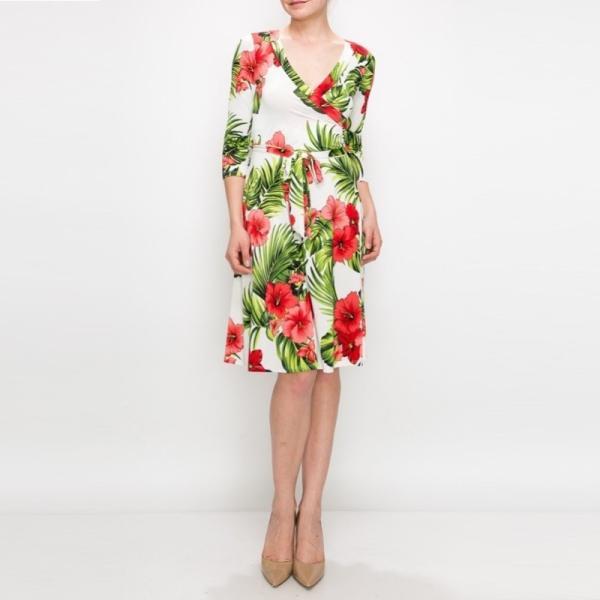 JANETTE ジャネット JANE-12 LA ジャージーワンピース 七分袖 2018新作|mcb-apparel