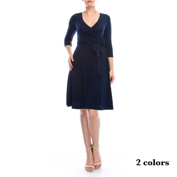 JANETTE ジャネット JANE-13-14 LA ジャージーワンピース 七分袖 2018新作 大きいサイズ有|mcb-apparel